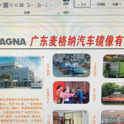 广东麦格纳汽车镜像有限公司。